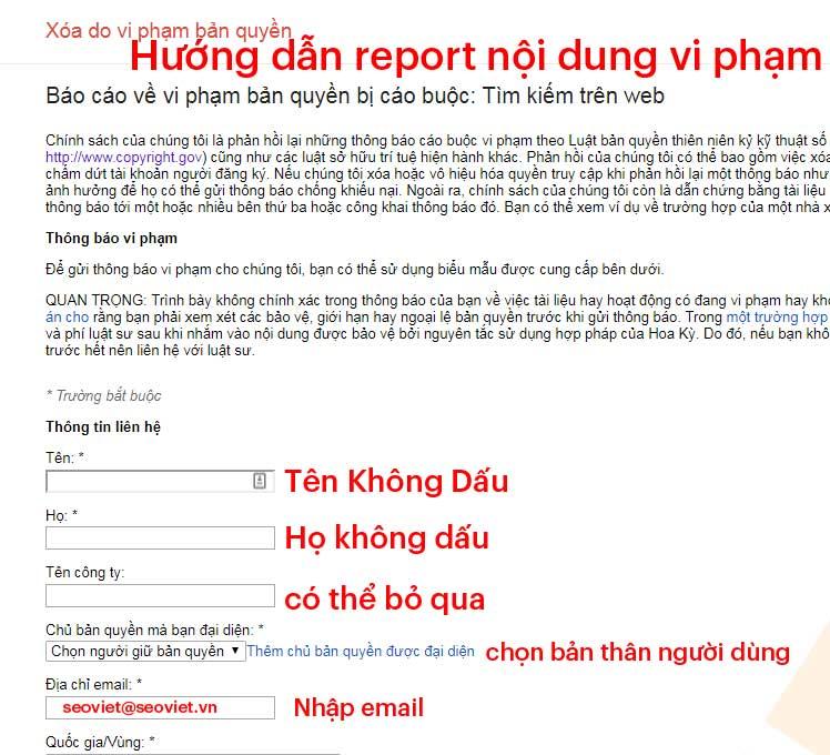 Hướng dẫn report/báo cáo nội dung vi phạm bản quyền
