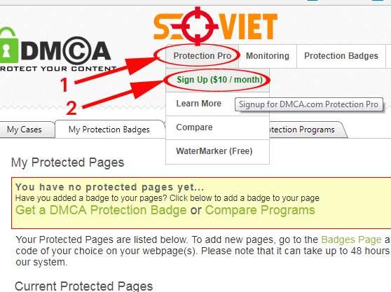đăng ký tài khoản DMCA pro