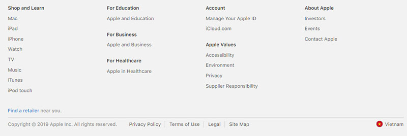 sitemap của hãng apple