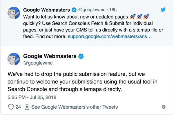 submit url lên Google