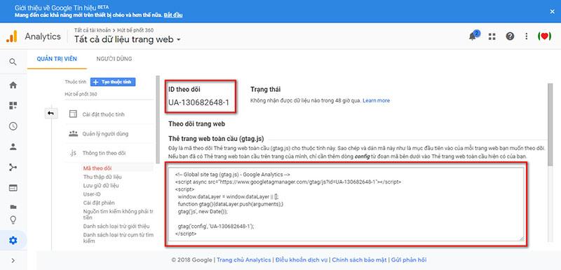 Hướng dẫn cài đặt Google Analytics 5