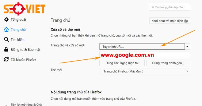 cài đặt google làm trang chủ trong trình duyệt firefox