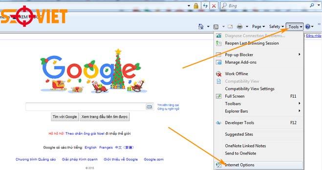 cài đặt google làm trang chủ trong trình duyệt intenet explorer