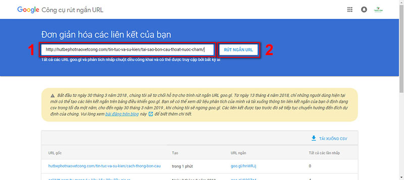 Website rút gọn link goo.gl 2