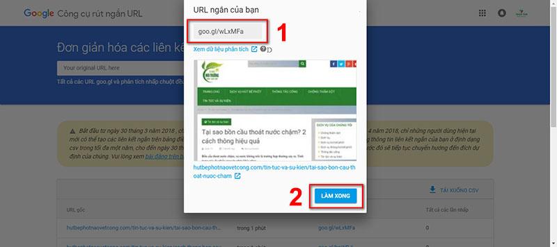 Website rút gọn link goo.gl 3