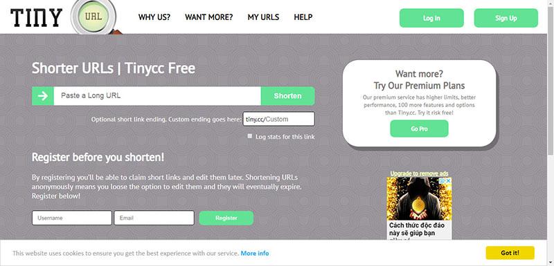 Website rút gọn link tiny.cc
