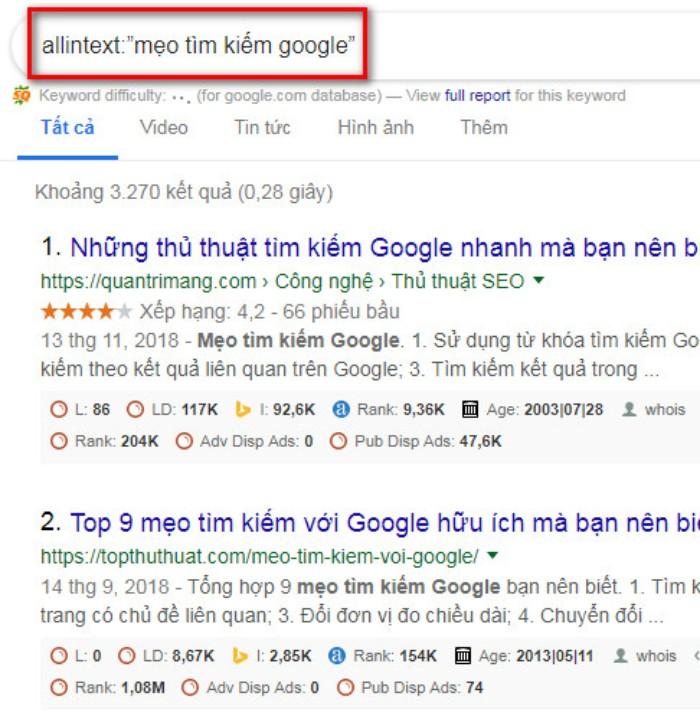 Tìm kiếm nâng cao Google allintext