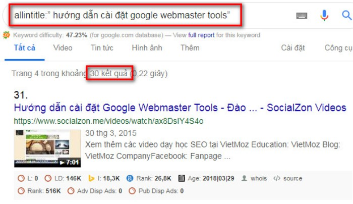 Tìm kiếm nâng cao Google allintitle