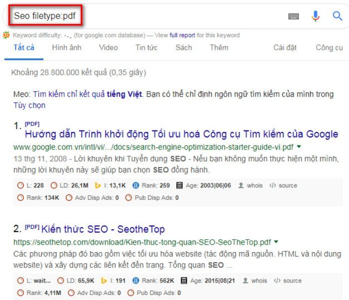 Tìm kiếm nâng cao Google filetype pdf