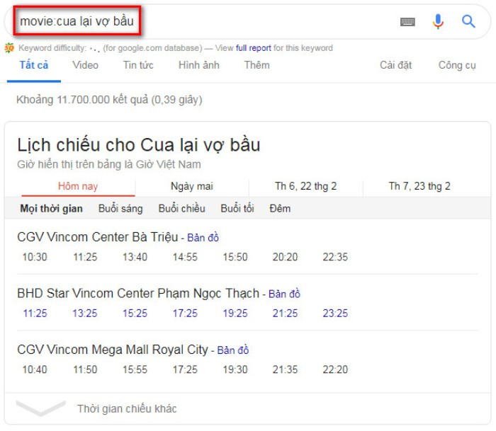Tìm kiếm nâng cao Google movie