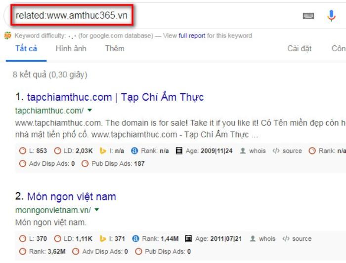 Tìm kiếm nâng cao Google related