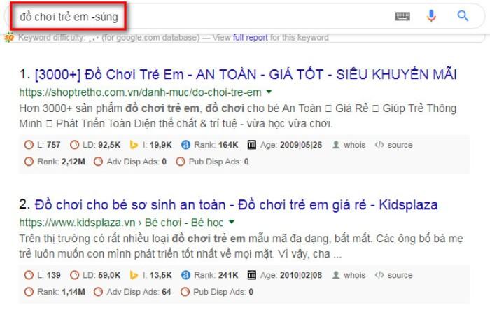 Tìm kiếm nâng cao Google trừ từ