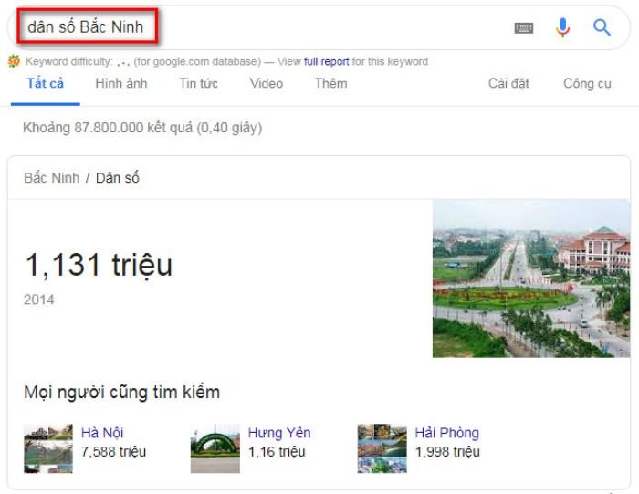 Tìm kiếm nâng cao Google dân số