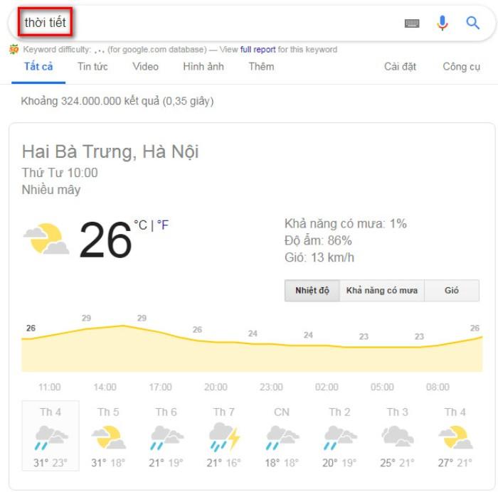 Tìm kiếm nâng cao Google thời tiết 2
