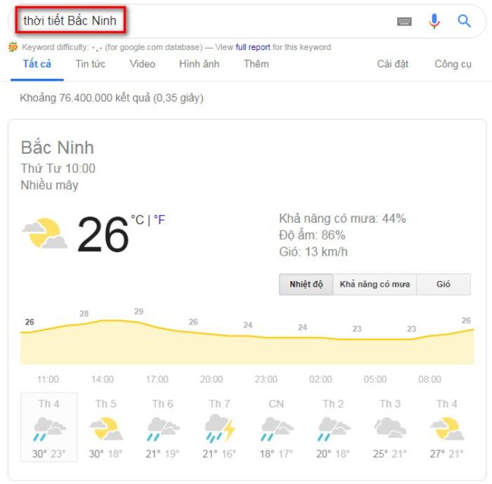 Tìm kiếm nâng cao Google thời tiết