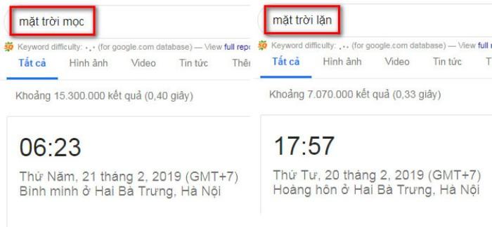 Tìm kiếm nâng cao Google xem mặt trời 2