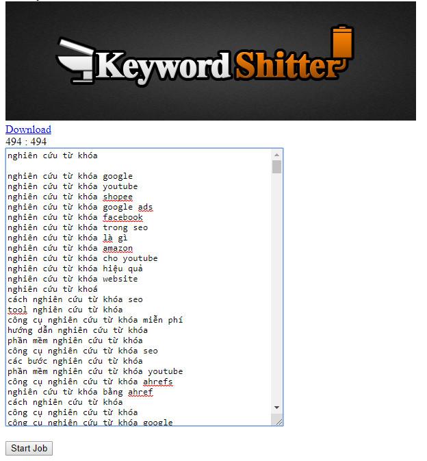Công cụ nghiên cứu từ khóa Shitter 1