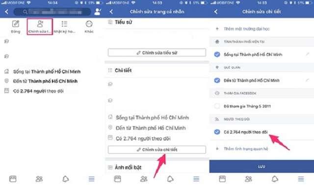 Cách hiển thị số người theo dõi trên Facebook bằng điện thoại Iphone