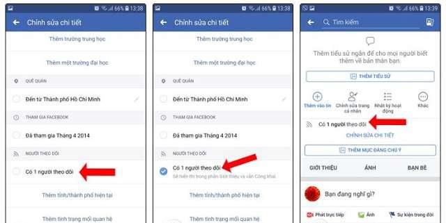 Cách hiển thị số người theo dõi trên Facebook bằng điện thoại Android