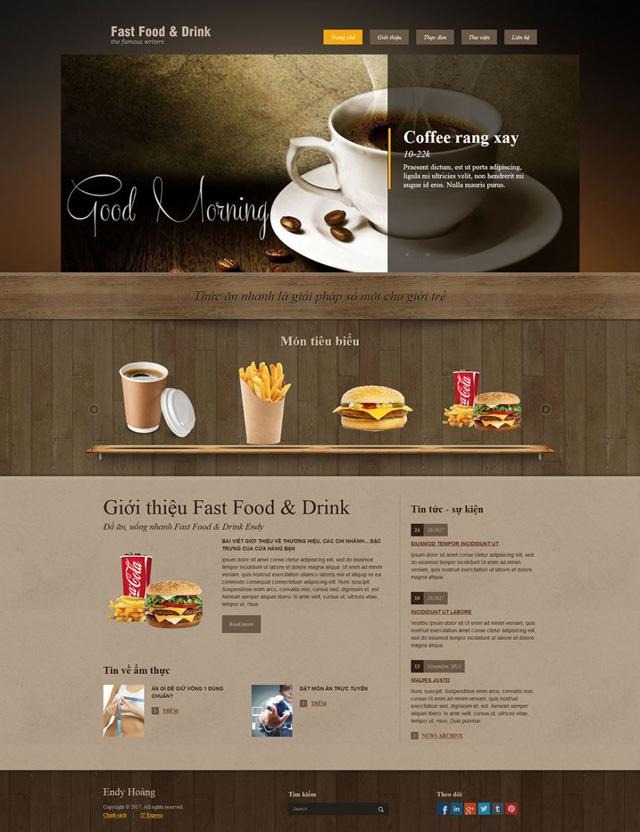 website quán cafe