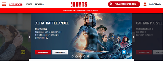 Hoyts là web xem phim có thiết kế cực kỳ ấn tượng
