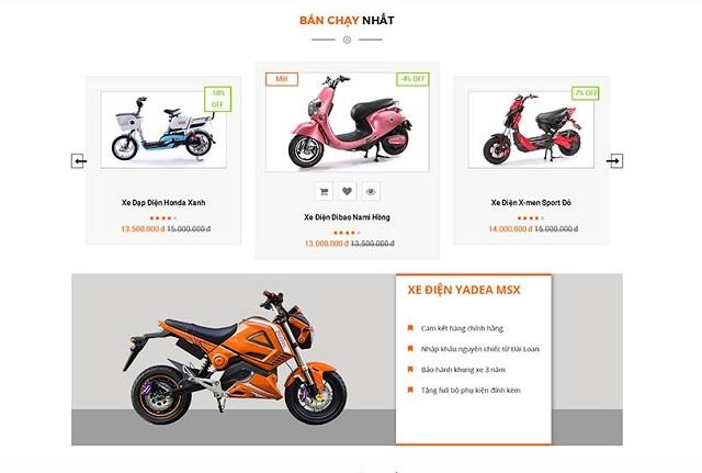 Thiết kế web xe đạp điện 5