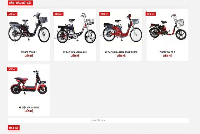 Thiết kế web xe đạp điện 2