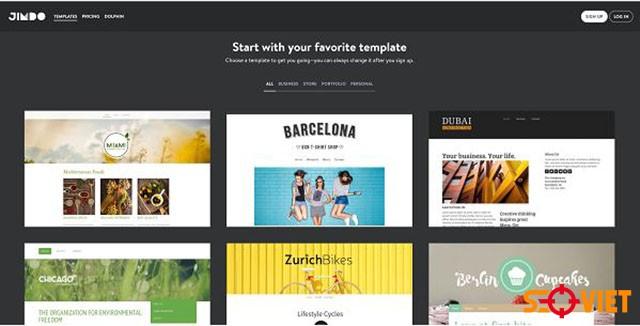 jimdo tạo trang web miễn phí