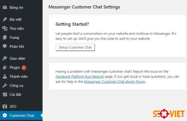 tích hợp chat facebook vào WordPress 2