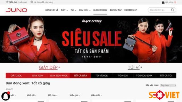trang web bán quần áo juno