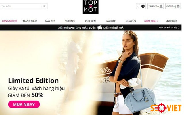 Trang web bán quần áo Topmot