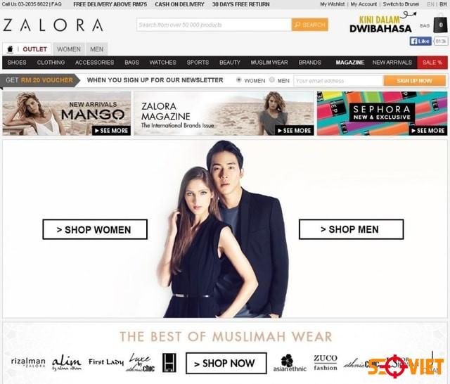 trang web bán quần áo Zaloza