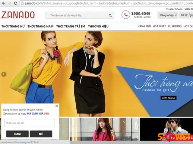 Trang web bán quần áo Zanado