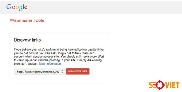 chặn backlink xấu bằng Google Webmaster Tools 2